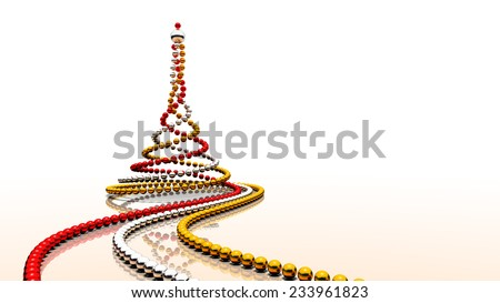 Three strings of colour balls - red, silver and gold - forming christmas tree shape. Rendered 3D image. - stock photo