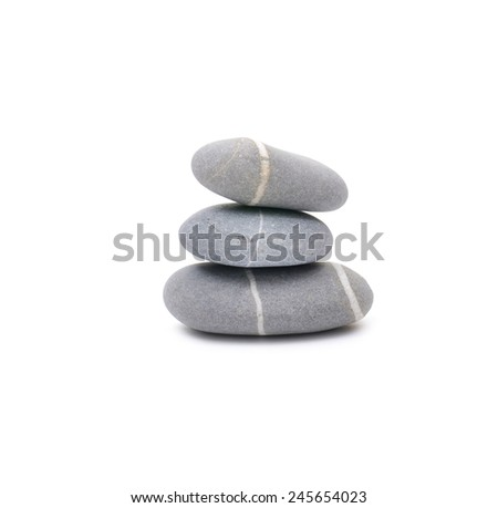 Three striped stone isolated - stock photo