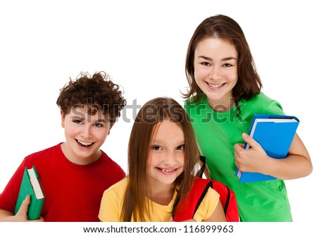 Three students isolated on white background - stock photo