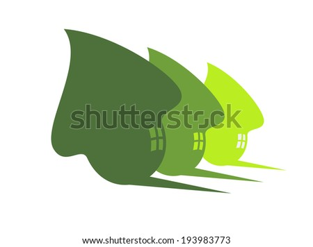 Three stylized cute green eco houses logo with flowing curves, windows and shadows in receding sizes, silhouette illustration on white. Vector version also available in gallery - stock photo