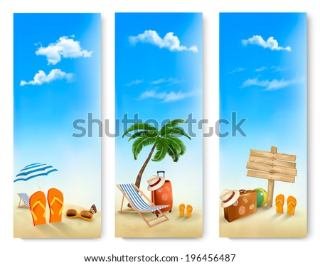 Three summer vacation banners. Raster version - stock photo