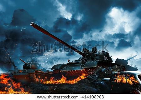 Three tanks in a burning field - stock photo