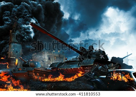 Three tanks in the conflict zone. The war in the countryside - stock photo