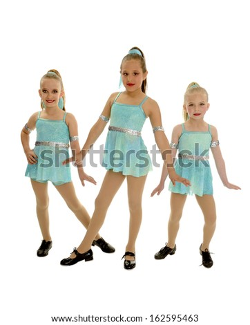 Three Tap Dance Girls in Recital Trio Costume - stock photo