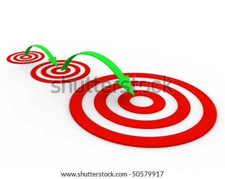 three targets small middle and large with arrows - stock photo