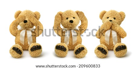 Three teddy bears see hear speak no evil, child abuse concept  - stock photo