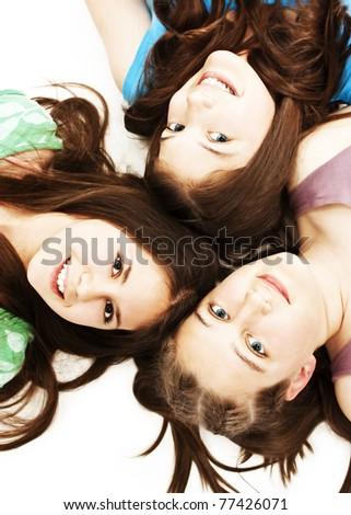 Three teen girls. Education, holidays. - stock photo