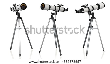 three telescopes on tripod isolated on white background - stock photo
