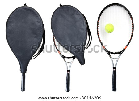 Three tennis rackets isolated on white. Clipping path - stock photo