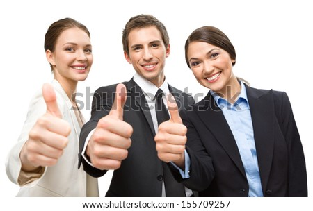 Three thumbing up business people, isolated on white. Concept of teamwork and cooperation - stock photo