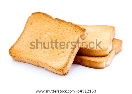 Three toasted bread slices for breakfast isolated on white studio background. - stock photo