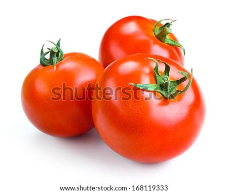 Three tomatoes isolated on white background - stock photo
