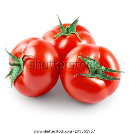 Three tomatoes isolated on white background - stock photo