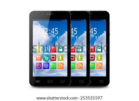 Three touchscreen smartphones with applications on screens. - stock photo