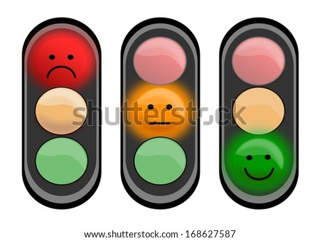 Three traffic lights with smiley faces - illustrations - stock photo
