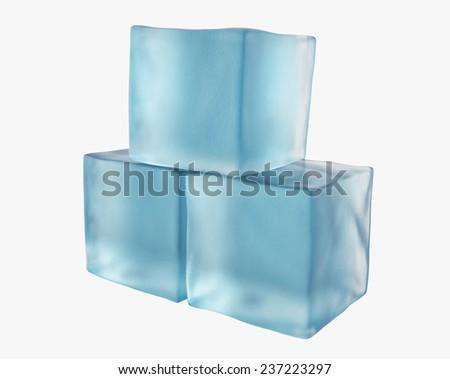 three translucent ice cubes - stock photo