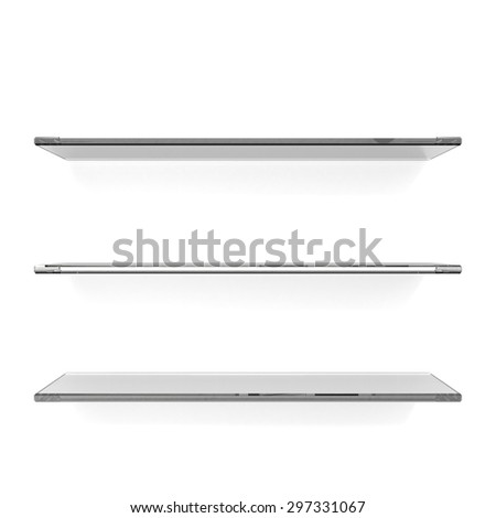 Three transparent gray glass shelfs - stock photo