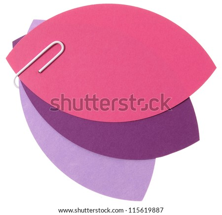 Three tulip paper petals linked with staple - stock photo