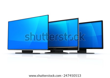 Three TV on white background (done in 3d) - stock photo
