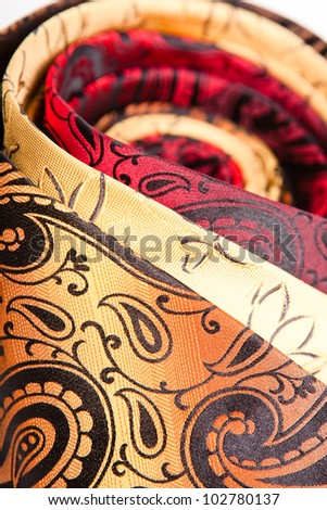 three twisted necktie close up - stock photo