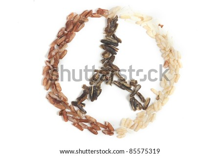 Three types of rice creating a peace symbol - stock photo