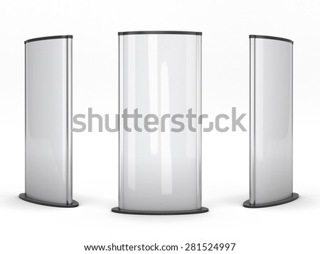 Three urban billboards isolated on white background. 3d illustration. - stock photo