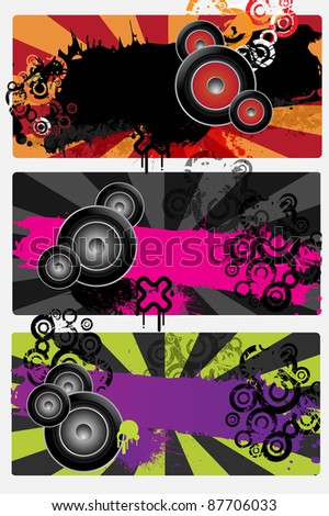 Three urban grungy music banners with place for text, raster - stock photo