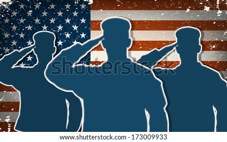 Three US Army soldiers saluting on grunge american flag background - stock photo