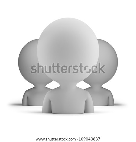 three users. 3d small person. 3d image. Isolated white background. - stock photo