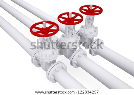 Three valves on the pipeline. Isolated render on a white background - stock photo