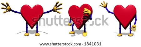 Three versions of Heart character - stock photo