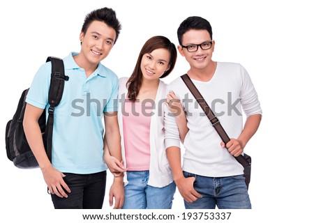 Three Vietnamese students - stock photo