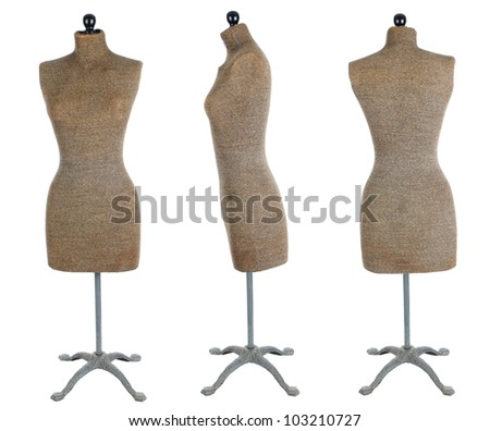Three views of an antique dress form. Front view, side view, and back view isolated over a white background. - stock photo