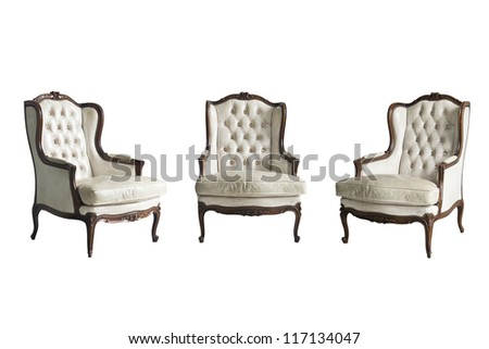 three vintage luxury armchair isolated with clipping path - stock photo