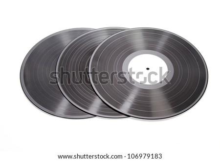 three vinyl records on white background - stock photo