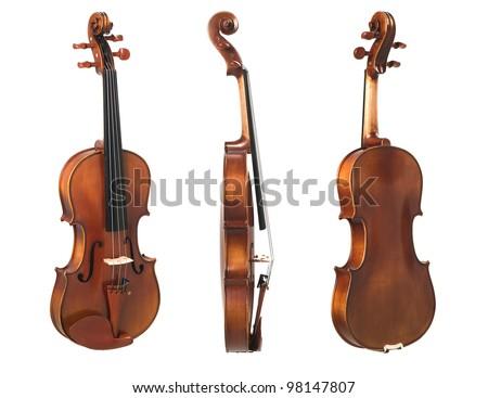 three violin isolated on white - stock photo