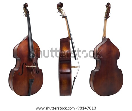 three violin isolated on white - stock photo