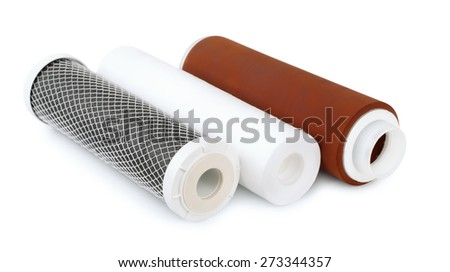 Three water filter cartridges isolated on white - stock photo