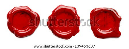 Three Wax Seals for letters, isolated on a white background. - stock photo