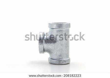 Three way plumbing pipes on white background. - stock photo