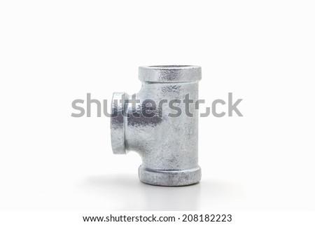 Three way plumbing pipes on white background. - stock photo