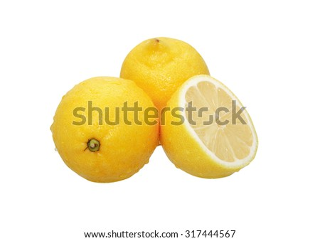 Three wet lemons on white background. Clipping path is included - stock photo