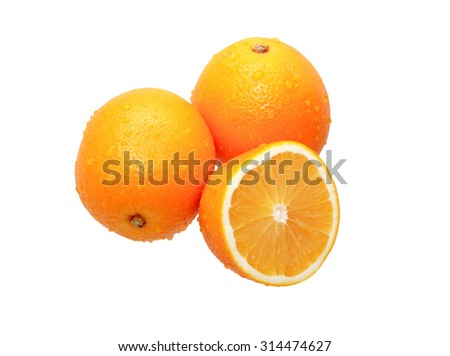 Three wet oranges on white background. Clipping path is included - stock photo