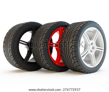 three wheels on multi-colored ��º��?��?��? - white, red and black - stock photo