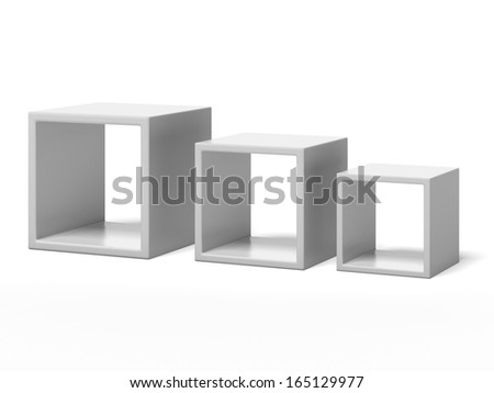 three white box shelves - stock photo