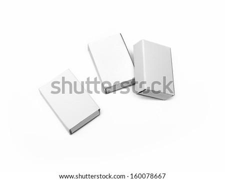 three white boxes on white background - stock photo