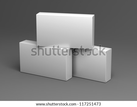 three white empty box template for medical drugs without texture on black background for design - stock photo
