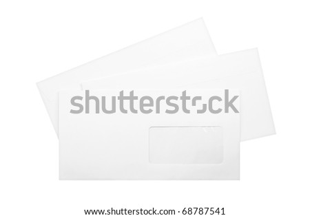 three white envelopes isolated on white - stock photo
