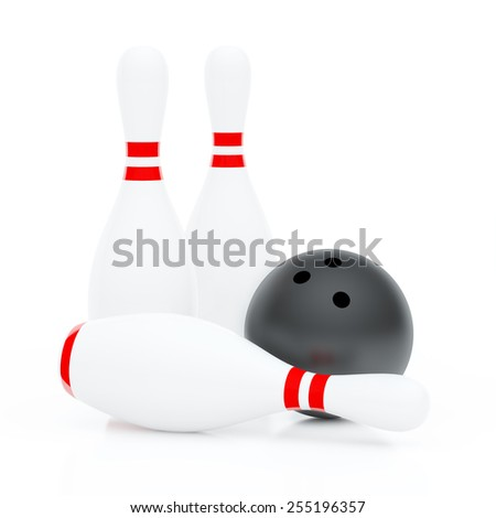 Three white skittles and black ball for bowling - stock photo