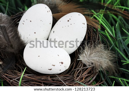 Three white speckled eggs with feathers in a nest. - stock photo
